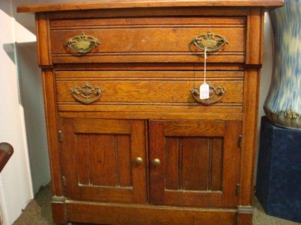 20: 2 Drawer Double Door Oak Washstand: