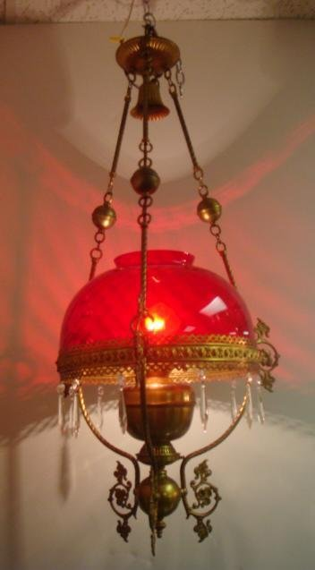 22: Victorian Electrified Hanging Lamp with Ruby Shade: