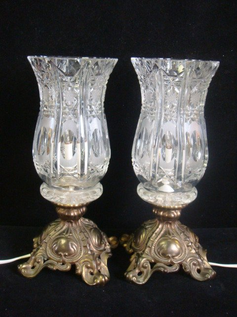 23: Pair of Lead Crystal Lamps with Metal Feet: