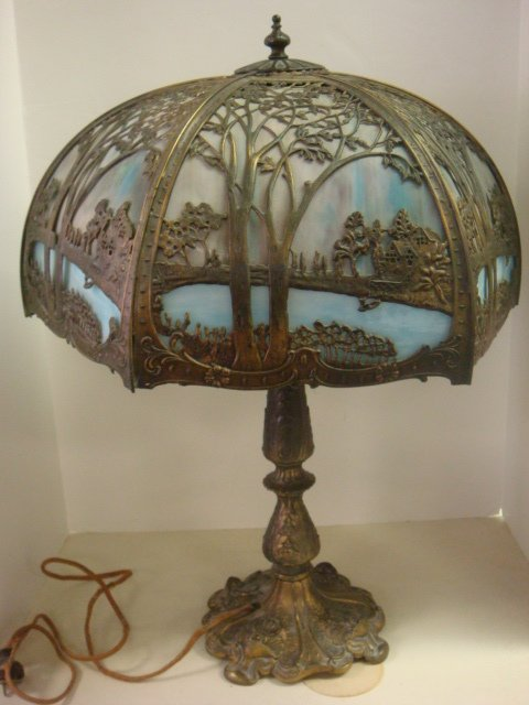 24: Slag Glass Table Lamp with Bronze Scenic Overlay: