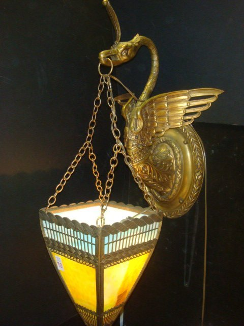 70: Brass Phoenix Figural Slag Glass Lamp: