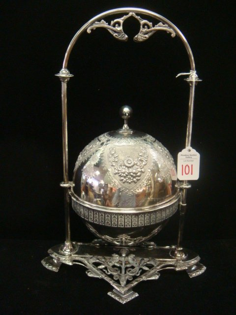 101: MERIDAN Silverplate Victorian Dome Butter Server: