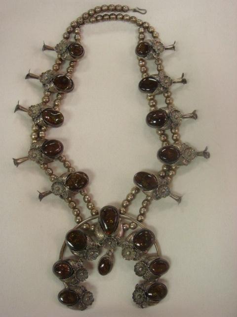 126: Fire Agate Squash Blossom Native American Necklace