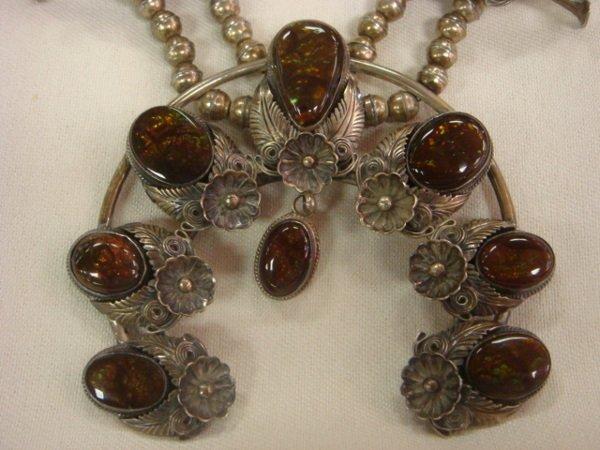 126: Fire Agate Squash Blossom Native American Necklace - 2