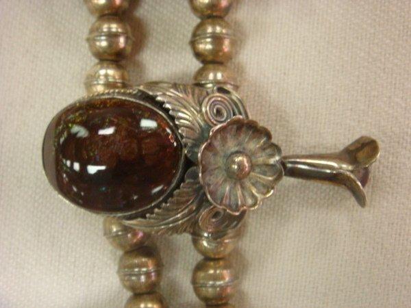 126: Fire Agate Squash Blossom Native American Necklace - 3