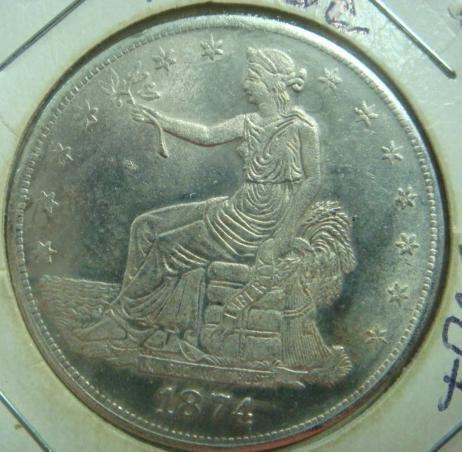 332A: Rare 1874 CC Trade Dollar EF-45+ Condition: