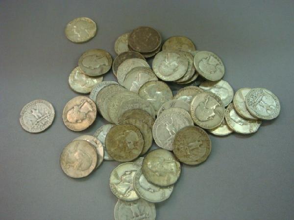 363: 46 US Silver Washington Quarters Per 1965: