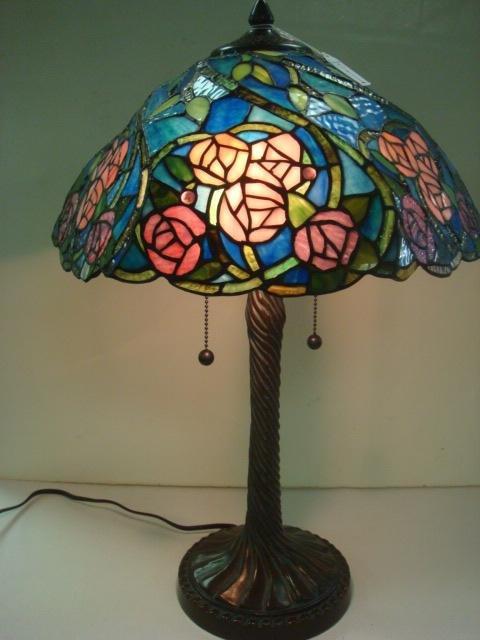 1: Pink Rose Tiffany Inspired Slag Glass Lamp: