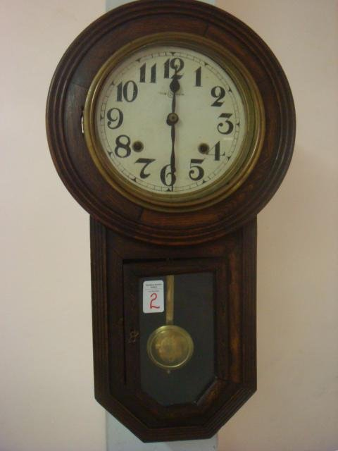 2: S Trademarked Strike and Chime 1920's Wall Clock: