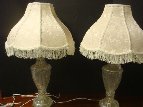 3: Pair of Lead Crystal Lamps with Brocade Shades: