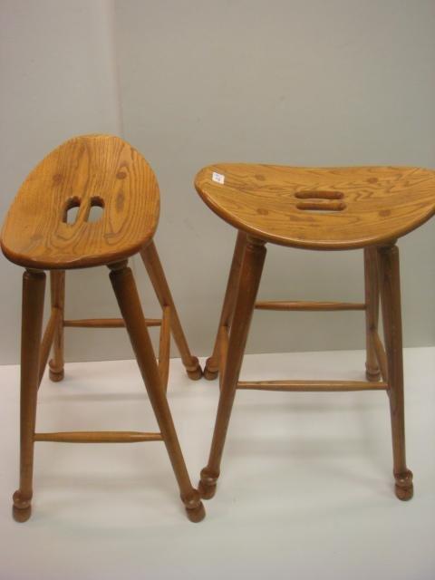 4: Pair of Oak Splay Leg Tall Stools: