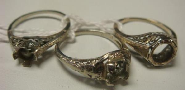 10: Three Antique Filigree 14 & 18KT Gold Ring Mounts: