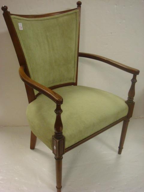 14: STATESVILLE Green Velvet Upholstered Arm Chair: