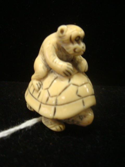 16: Hand carved Signed Ivory Monkey and Turtle Netsuke: