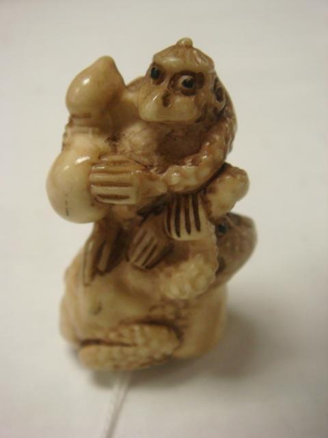 20: Ivory Carved Signed Monkey on Frog Japanese Netsuke