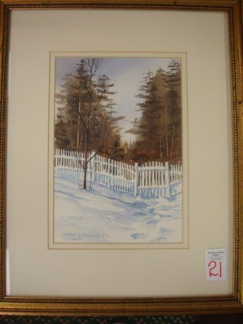 21: Signed MICHAEL HOLTER White Fence in Snow Watercolo