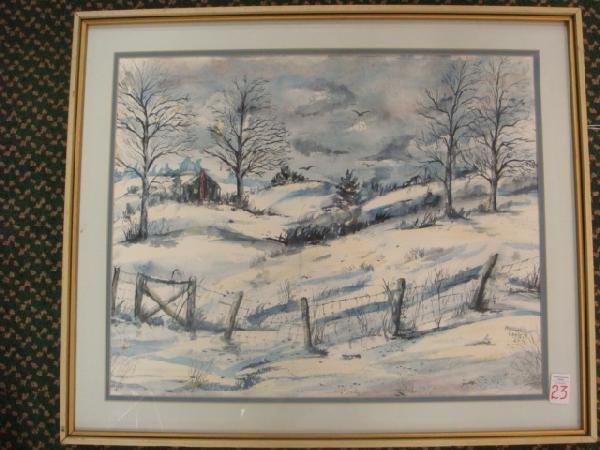 23: Signed MARGARET LEWIS Snowy Farmland Watercolor: