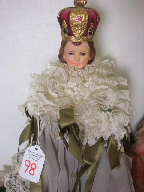 98: COLUMBIA STATUARY Infant of Prague Figure and Bear: - 2