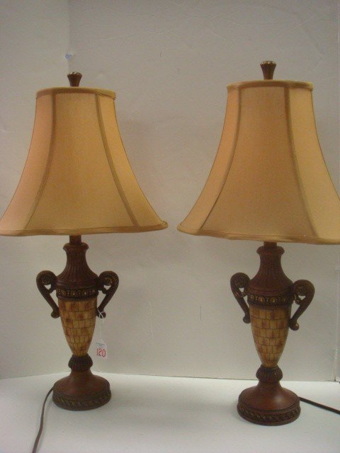 120: Pair of Urn Shaped Table Lamps with Silk Shades: