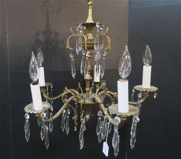 Five Arm Metal and Crystal Chandelier: