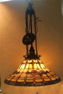 Tiffany Style Five Light Chandelier: