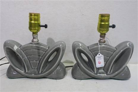 Pair of Vintage Mid Century Ceramic Lamps: