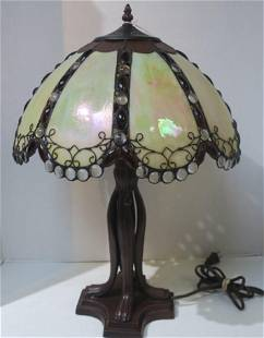 Domical Glass Beaded Stained Glass Table Lamp: