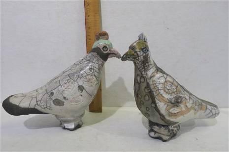 Two GLORIA MARTIN Raku Birds:
