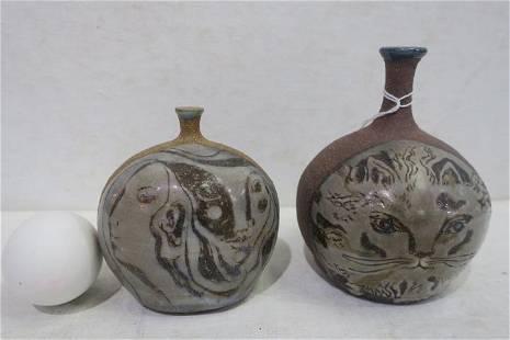 Two GLORIA MARTIN Pottery Bud Vases: