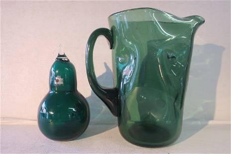 Three Pcs. Green Blenko Glass.