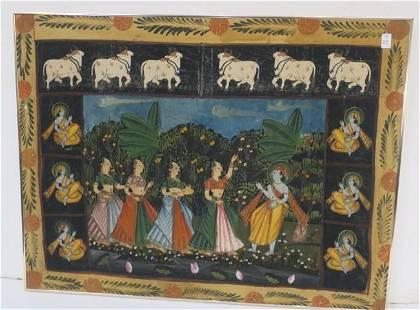 Cotton Cloth Tapestry of Hindu God Krishna:
