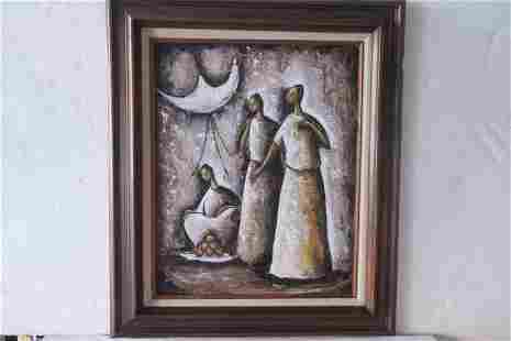 Mexican Folk Art Painting Signed J ORTIZ R: