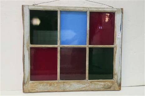 Vintage Multi-Color Stained Glass Window in Frame: