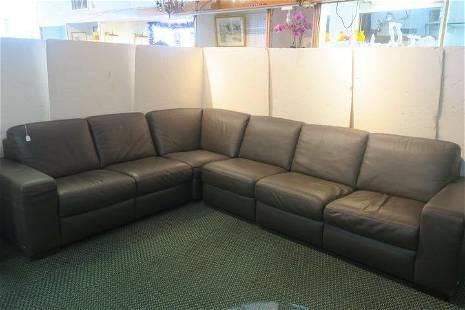 NATUZZI ITALIA 4 Piece Leather Sectional Sofa: