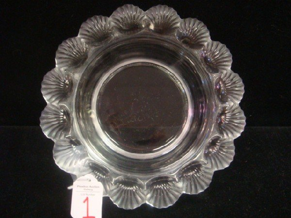 1: LALIQUE Pornic Shell Rimmed French Crystal Bowl: