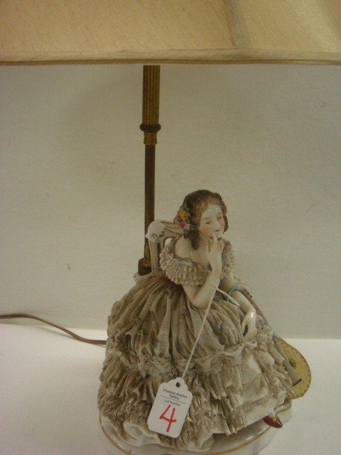 4: OLDEST VOLKSTEDT POTTERY Porcelain Lace Lady Lamp: