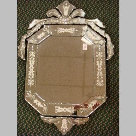 9: Venetian Beveled Glass Mirror in 20 Piece Frame: