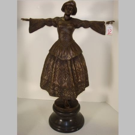 12: Bronze Statue of Dancer with Outstretched Arms: