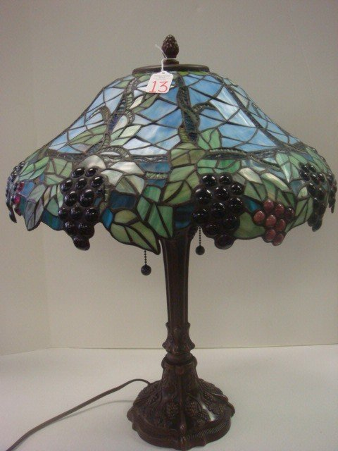 13: Metal Base Table Lamp with Leaded Glass Grape Shade