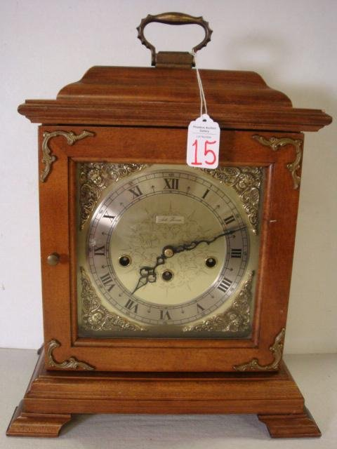 15: SETH THOMAS Key Wind Shelf Clock, Mahogany Case: