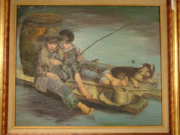 17: Signed A GREER Lad's Fishing Oil Painting on Canvas