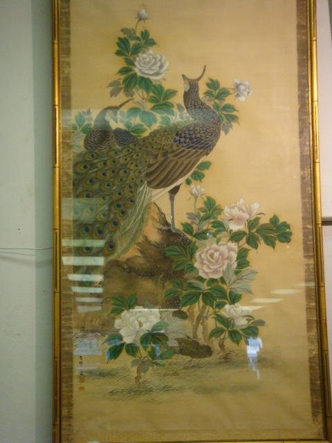 19: Japanese Handpainted Peacocks on Silk Panel: