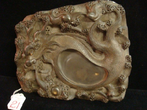 21: Dragon Motif Trapezoidal Chinese Ink Stone: