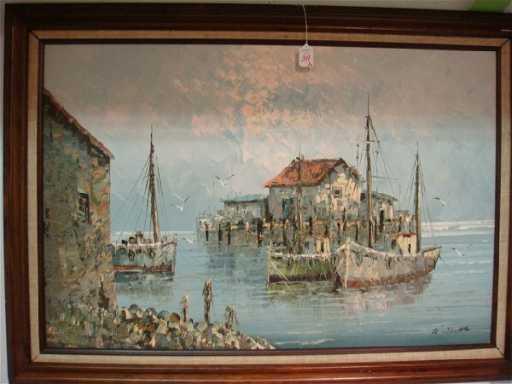 319a Signed W Jones Boat Yard Scene Oil On Canvas