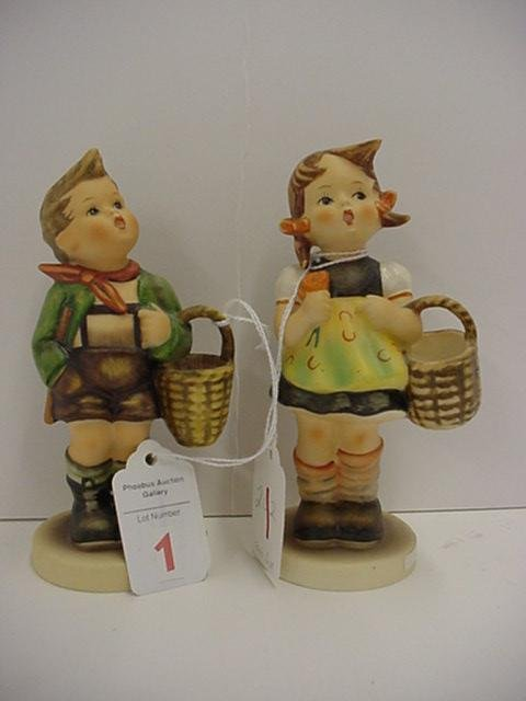 1: Hummel Village Boy and Sister Figurines: