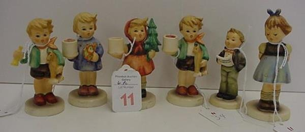 11: 6 Small Hummel Candle Holders and Figurines: