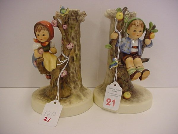 21: Hummel Apple Tree Boy and Girl Candleholders:
