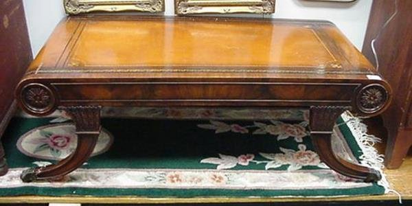 180: Hand Tooled Leather Top Mahogany Coffee Table: