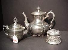 247: Silverplate Teapots and Dresser Jar: