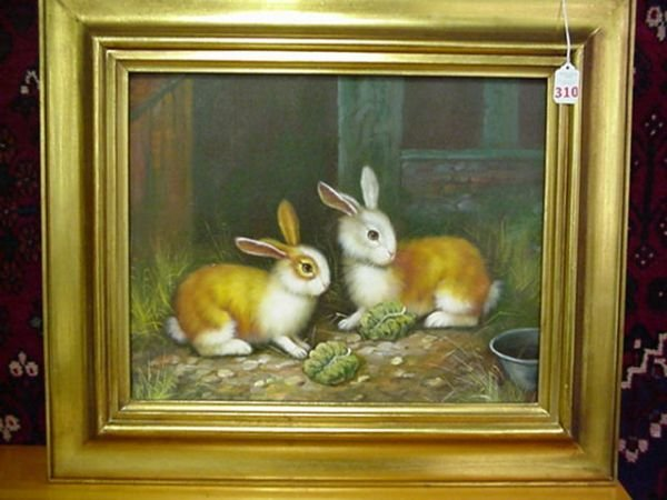310: Bunny Hutch Oil on Canvas in Gold Frame: